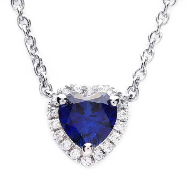 Heart Sapphire Halo Women's Whole Necklace