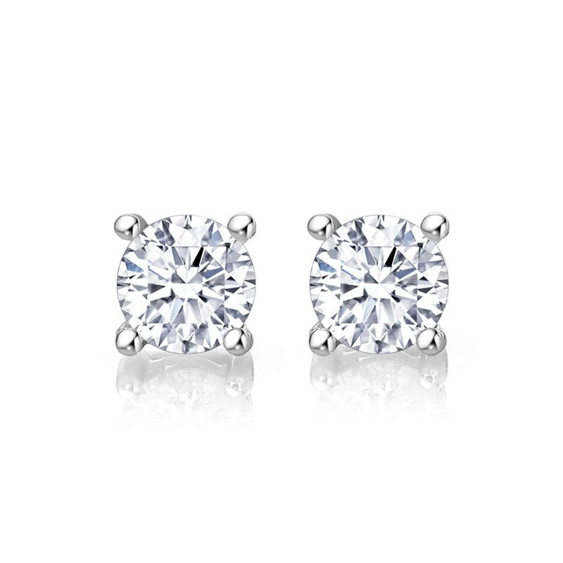 Classic Four Prong Setting 1.0ct Round Brilliant-cut Earring