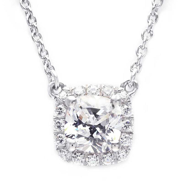 Halo White Sapphire Princess Cut Necklace