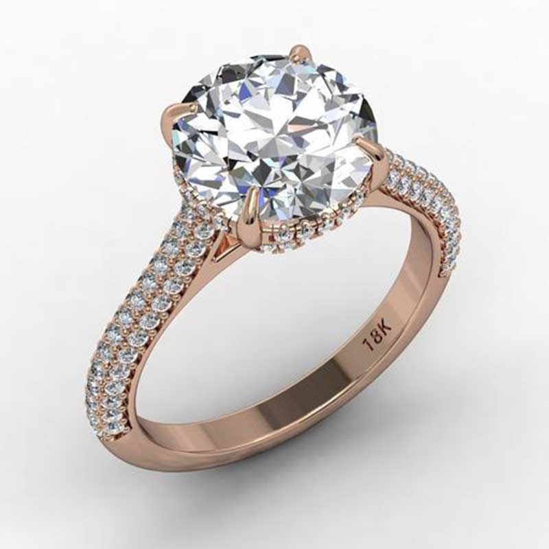 classic Round cut white sapphire Rose Gold best engagement rings