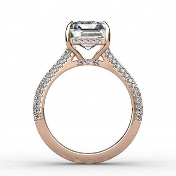 Emerald cut white sapphire Rose Gold non traditional best engagement rings