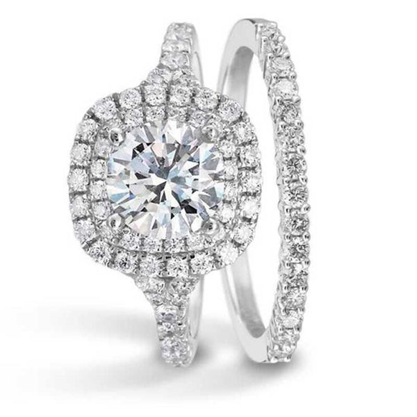 Classic Cushion Cut Double Halo White Sapphire Best Engagement Rings