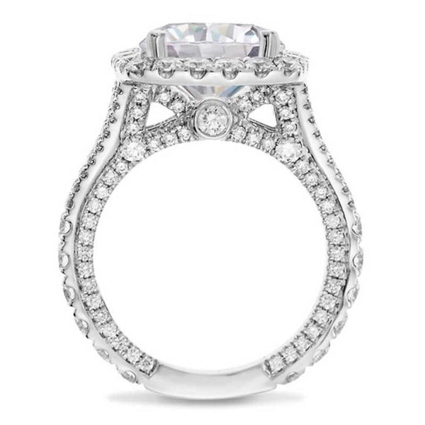 Halo Round Cut Cubic Zirconia Split Set Best Engagement Rings