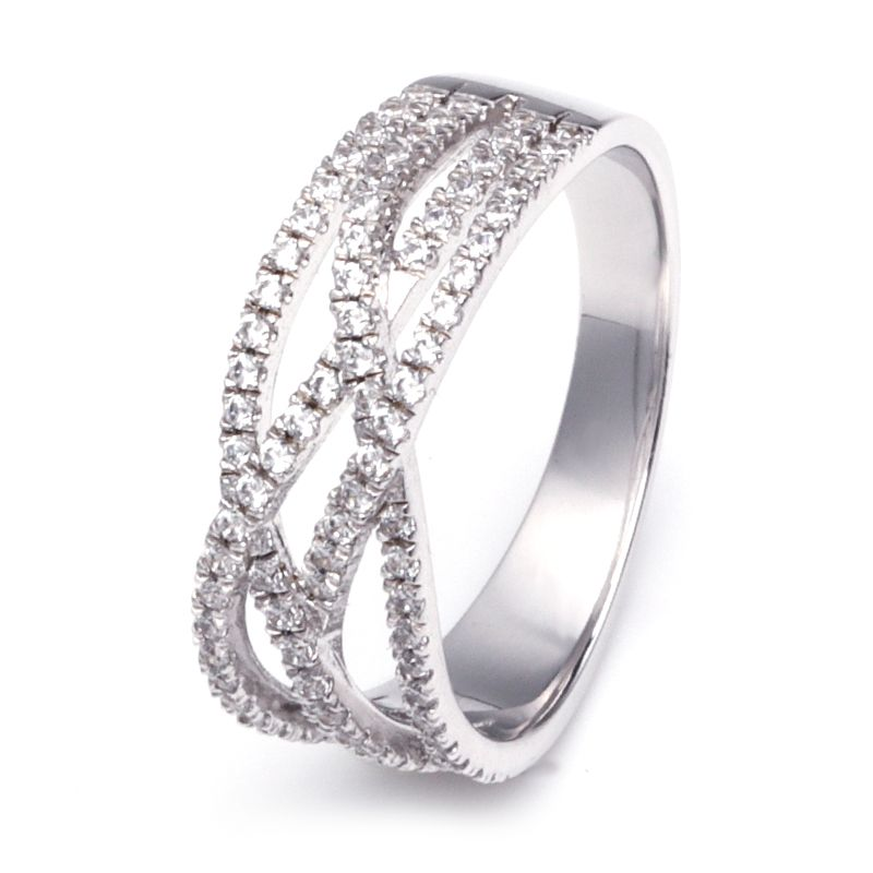 Intertwined Stone Band White Created Sapphire Wedding Band For Her