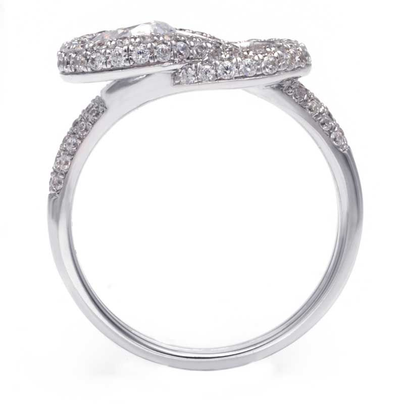 Knot Luxury Stone Band White Sapphire Engagement Ring