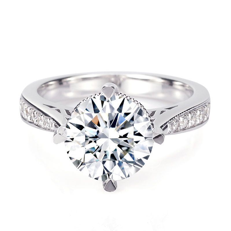 Simple Four Claws Round White Sapphire Engagement Ring