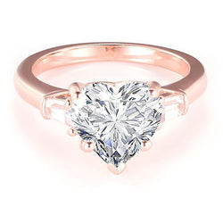 Rose Gold Tone Three Stone Heart Cut Sterling Silver Ring