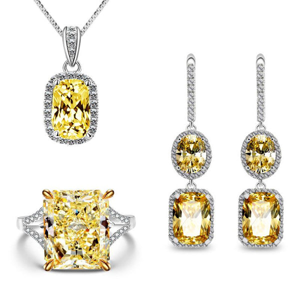 Luxury Halo Created Topaz Stering Silver Wedding Jewelry Set