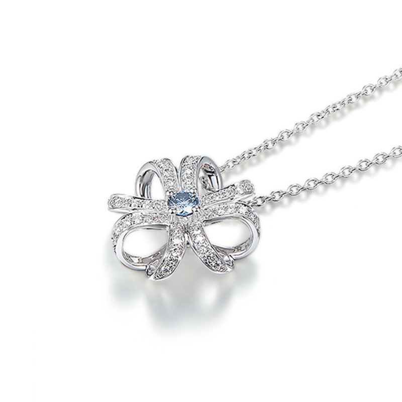 Flower Shape Round Cut Created Aquamarine Sterling Silver Necklace