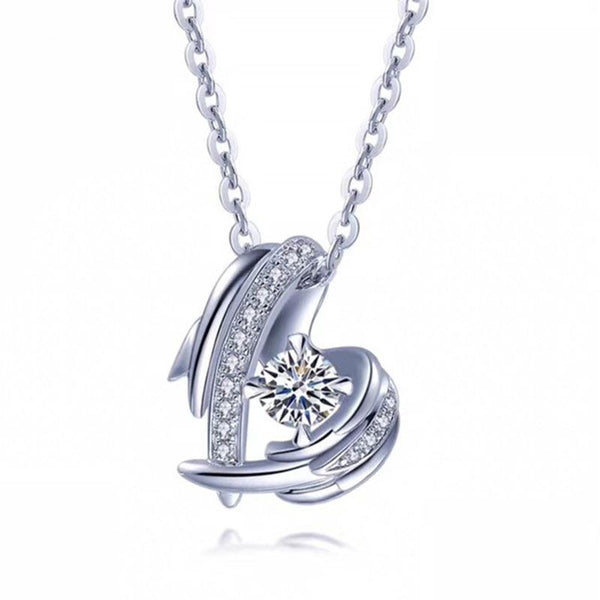 Angle Wings Round Cut Sterling Silver Necklace