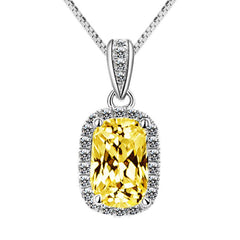 Luxury halo Emerald Cut Created Topaz Sterling Silver Necklace