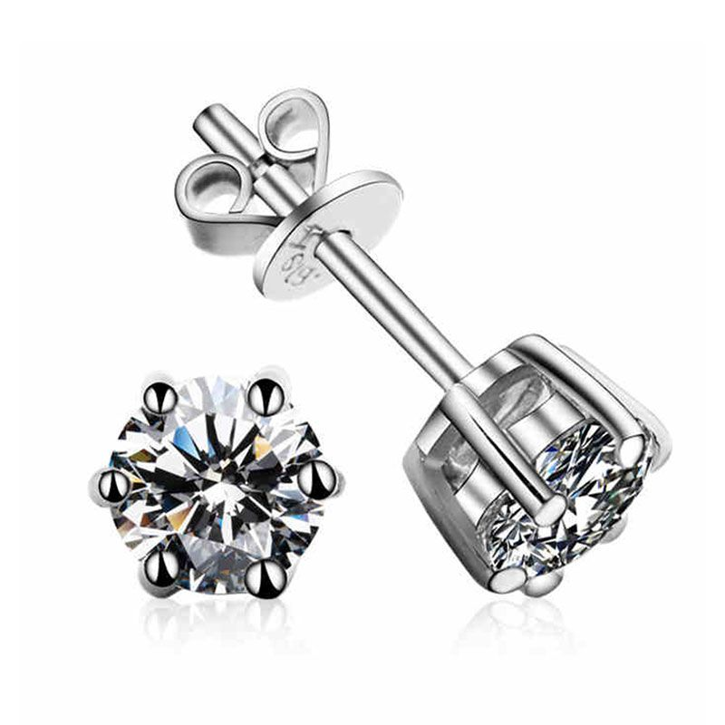 1.0CT Classic Six Prong Setting Sterling Silver Earrings