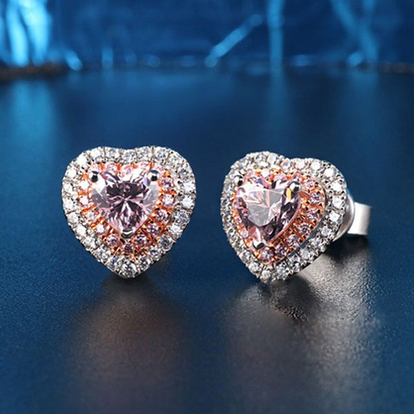 Heart Shape Double Halo Created Pink Sapphire Sterling Silver Earrings