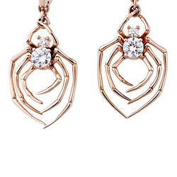 Rose Gold Spider Round Cut Sterling Silver Earrings