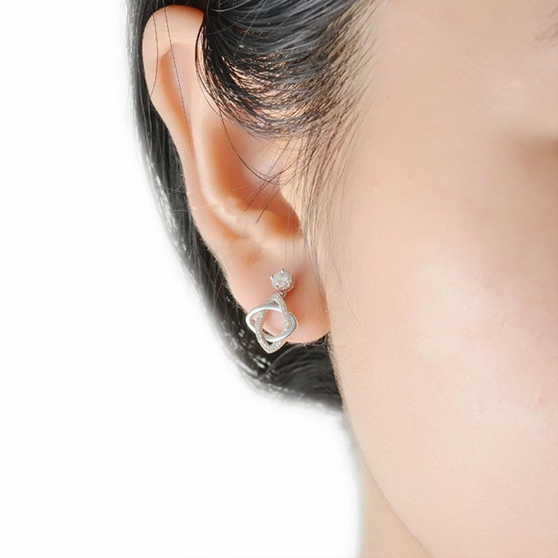 Twist Cross Round Cut Sterling Silver Jacket Earrings