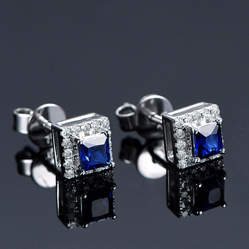 Halo Princess Cut Created Sapphire Sterling Silver Earrings
