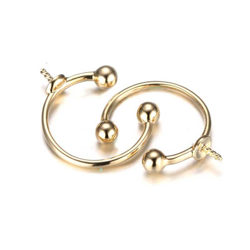 14K Yellew Gold Round Golden Pearls Hoop Earrings