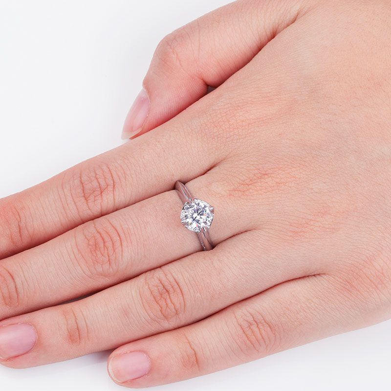 Solitaries Round Brilliant-cut White Sapphire Engagement Ring