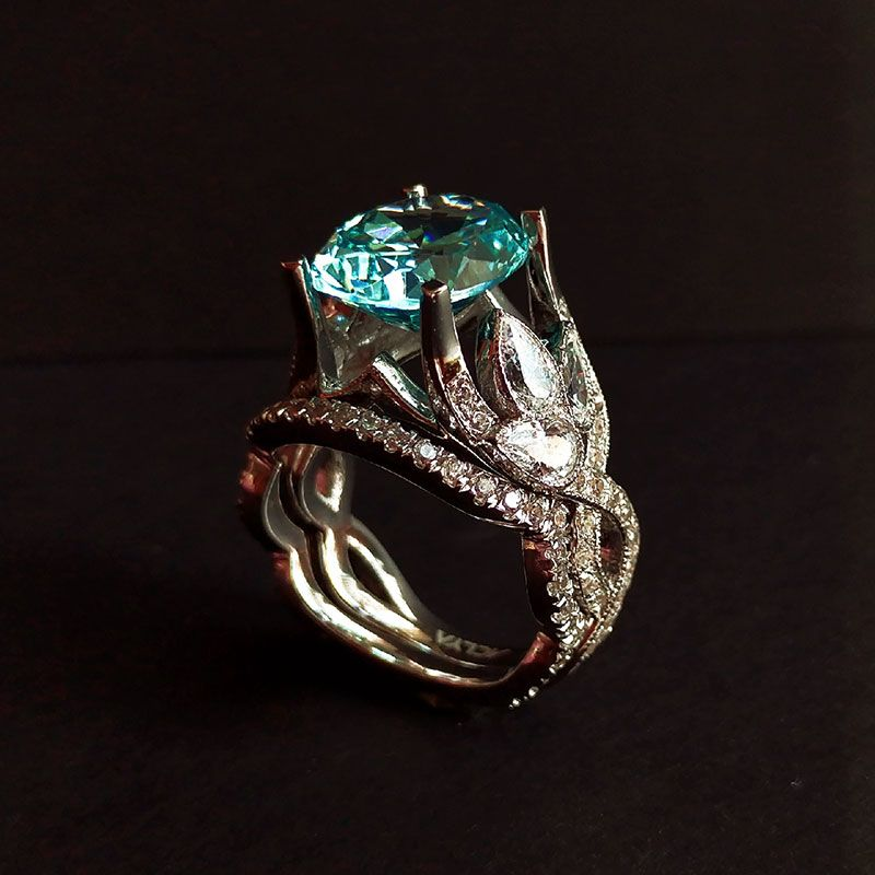 Vintage Leaf Design Infinity Oval Cut Created Aquamarine Sterling Silver Ring Set