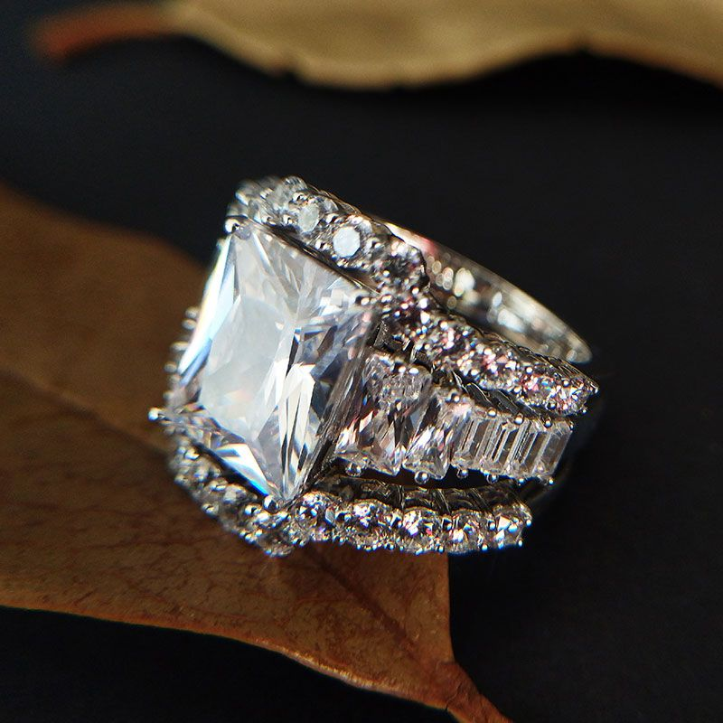 5.0CT 3PC Emerald Cut Sterling Silver Bridal Set