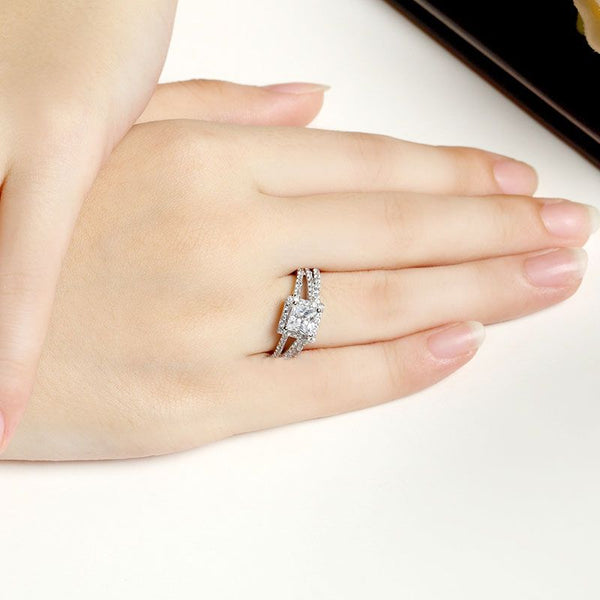 Halo Princess Cut Split Shank Sterling Silver Ring Set
