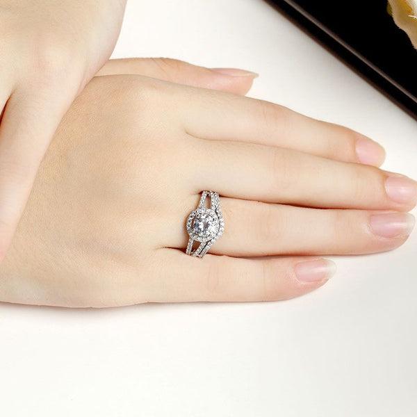 Halo Split Shank Round Cut Sterling Silver Ring Set