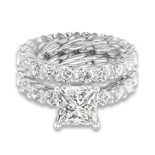 3.0ct Luxury Princess Cut Sterling Silver Ring Set