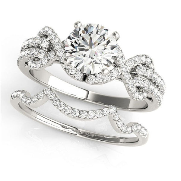 Luxury Infinity Round Cut Created White Sapphire Wedding ring set