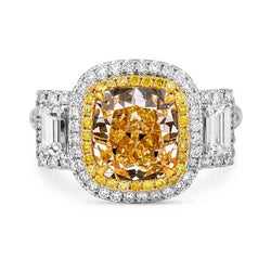 3-Stone Emerald Cut And Cushion Cut Halo Unique Yellow Sapphire Engagement Rings