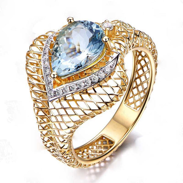 Pear Cut Hollow Out Gold Tone Cocktail Ring For Women