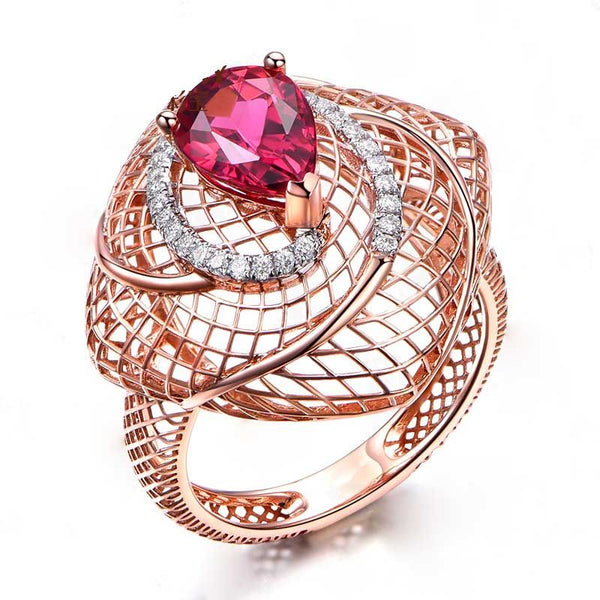 Pear Cut Hollow Out Rose Gold Tone Sterling Silver Cocktail Ring For Women