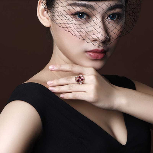 Flower Shape Hollow Out Pear Cut Sterling Silver Cocktail Ring For Women