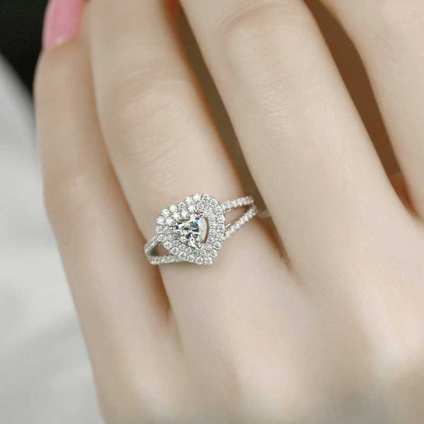 Halo Heart Cut Split Shank Sterling Silver Ring For Women