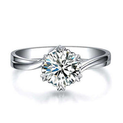 Classic Six Claws White Sapphire Engagement Ring