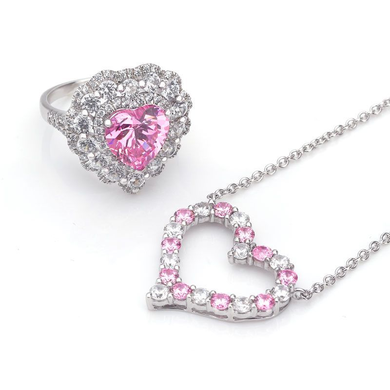 Heart Pink and White Created Sapphire Ring and Necklace Jewelry Set