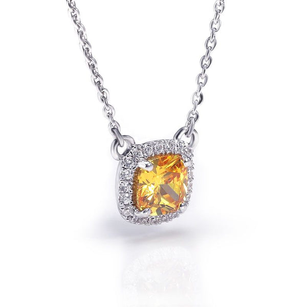 Halo Yellow Sapphire Princess Cut Necklace