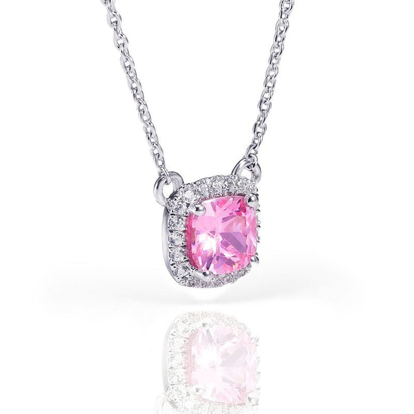 Halo Pink Sapphire Princess Cut Necklace