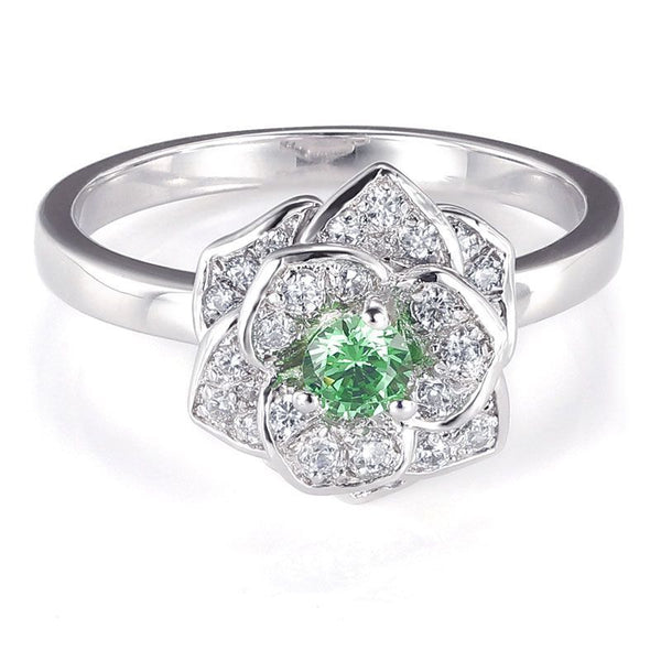 Elegant Flower Green Created Sapphire Engagement Ring