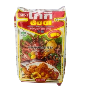 tempura flour Thai brand gogi is used to make batter for deep fried Thai foods