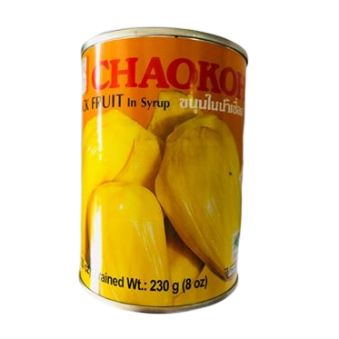 thai jackfruit in syrup. tinned and stocked in the uk by us at siam thai supermarket. chaokoh brand is famous in thailand
