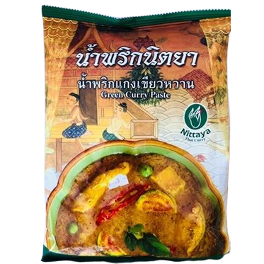 Real Thai green curry paste, in the uk. supplied by us at Siam Thai shop Cardiff, we have Nittaya brand which is a popular and authentic Thai food brand.