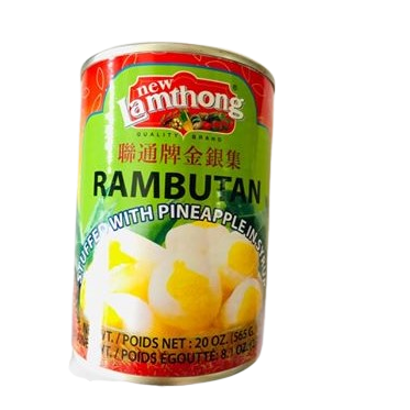 THAI RAMBUTAN WITH PINEAPPLE AND SYRUP, CANNED IN THAILAND AND SOLD IN THE UK BY SIAM THAI MRKET