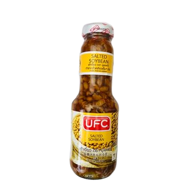 salted soybeans from Thailand UFC brand are here to buy from our UK stock. This smaller bottle is handy to keep for those who use salted soybean sauce in their Asian cooking infrequently