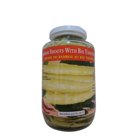 thai bamboo shoots with bai yanang and chilli in a jar from thailand
