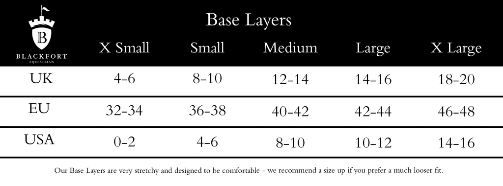 Blackfort Equestrian Base Layer Size Guide