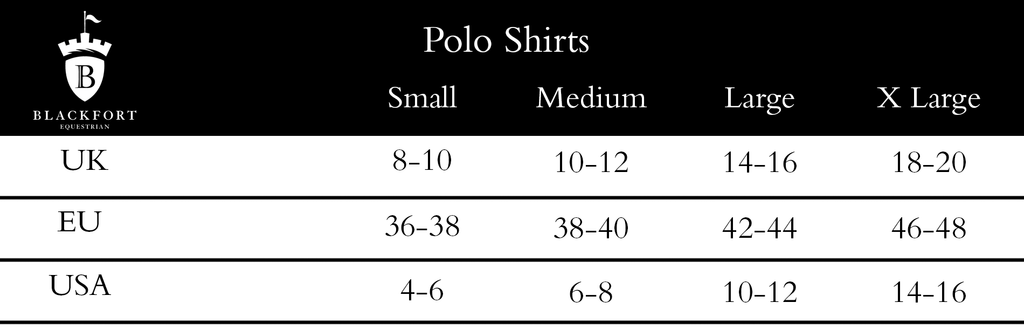 Blackfort Equestrian Polo Shirt Size Guide