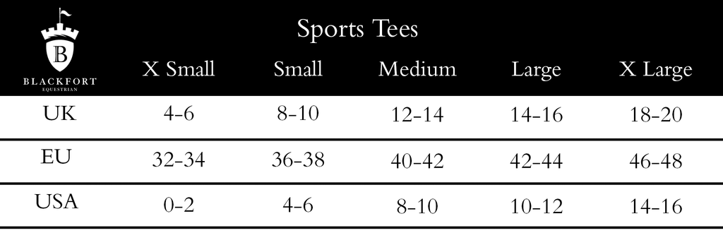 Blackfort Equestrian Sports Tees Size Guide