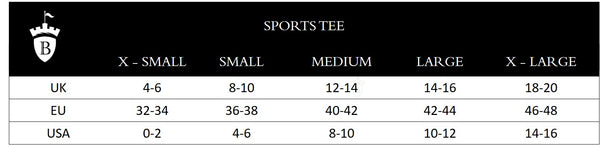 Blackfort Equestrian Sports Tee Size Guide