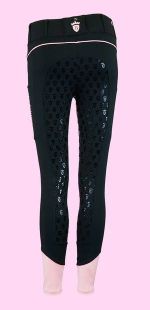 Blackfort Equestrian Pink Riding Tights Leggings with Phone Pocket