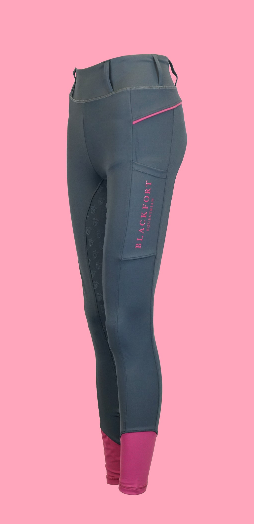 Grey Riding Tights - Rose Pink